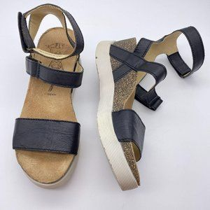 Fly London black leather sandals size 36 5.5-6